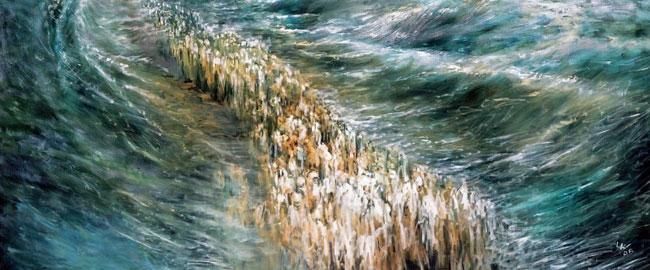 קריעת ים סוף (ציור: לידיה קוזניצקי) KriatYamSoof