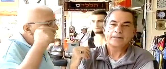 תושב אשקלון גורם להפסקת הראיון עם גדעון לוי (צילום מסך) ימין גזענות אלימות gideonlevy
