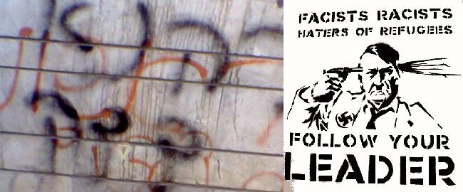 גרפיטי אנטי פשיסטי בקורנוול וגרפיטי פשיסטי בהרצליה כהנא צדק פשיזם פשיסטים גזענות kahana2
