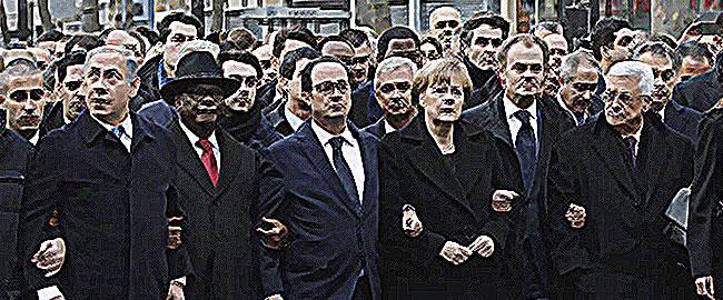 נתניהו ועבאס עם מנהיגי העולם בעצרת ההמונים בצרפת, ינואר 2014 צ'רלי הבדו bibi-abbas-france