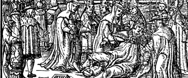 האפיפיורית יולדת באמצע תהלוכה ציבורית (צייר: יעקב קלנברג, 1353) נצרות נשים popejoan