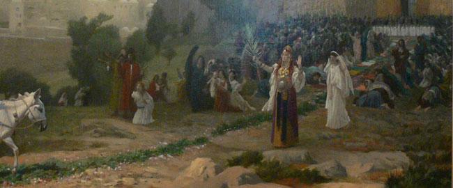חמור לבן ירושלים ציור היסטוריה כוהנת דת יהדות משיח G-r-me_-_L'entr-e_du_Christ_-_J-rusalem_-_cadre