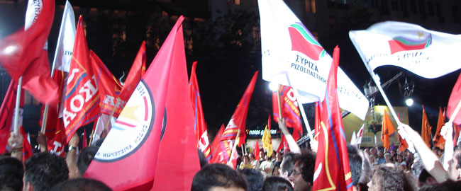 הפגנת שמאל ביוון, 2007 סיריזה ציפראס SYRIZA_flags_2007