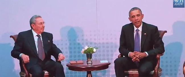 """ברק אובמה, נשיא ארה""""ב וראול קסטרו, נשיא קובה נפגשים בפנמה, 11/4/15 OBAMA-CASTRO"""