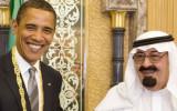 """נשיא ארה""""ב אובמה נפגש עם מלך ערב הסעודית  עבדאללה יולי 2014 Obama_meets_King_Abdullah_July_2014"""