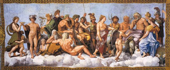 greek-pantheonפנתאון האלים היוונים (ציור: רפאל) היסטוריה מיתולוגיה דת יוון אלים