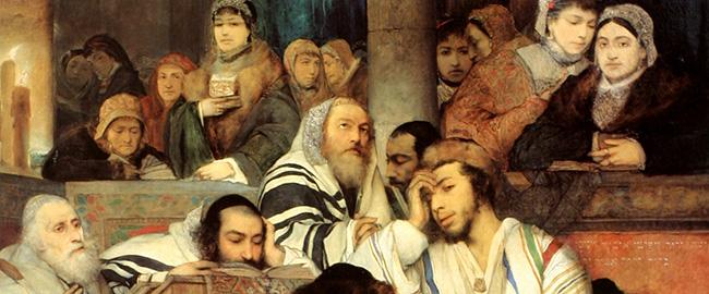 מתפללים ביום כיפור (צייר: מאוריצי גוטליב) KIPPUR