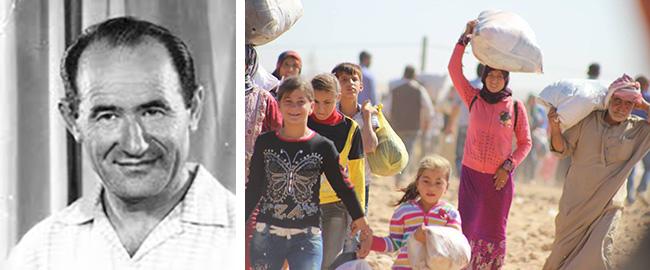 מימין: פליטים כורדים, 2014 (מקור); משמאל: ראובן רובינק (מקור) kurds+rubinel