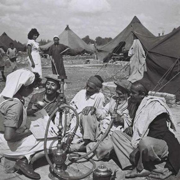 עולי תימן במעברה (צילום: פיקיוויקי) מזרחים היסטוריה ציונות oleyemen1