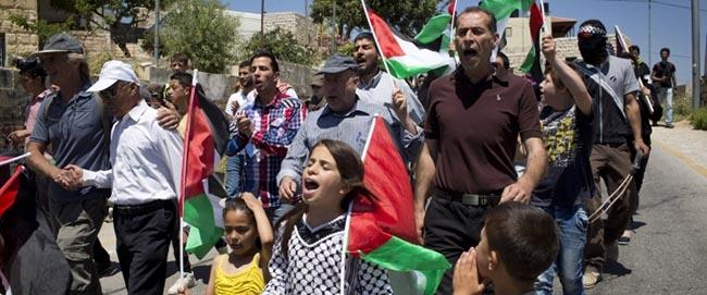 ההפגנה השבועית נגד הכיבוש בכפר הפלסטיני נבי סאלח, מאי 2014 (צילום: אקטיבסטילס) nabi-saleh2