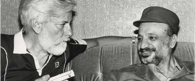 אורי אבנרי ויאסר ערפאת, 1982 (מקור) פלסטינים כיבוש עראפאת avneri-arafat