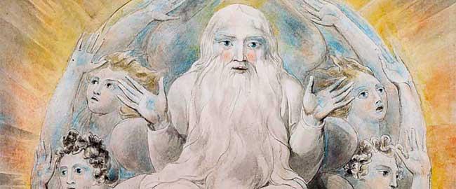 אלוהים מברך את היום השביעי (צייר: ויליאם בלייק) דת נצרות יהדות אסלאם מלאכים blake_god_blessing