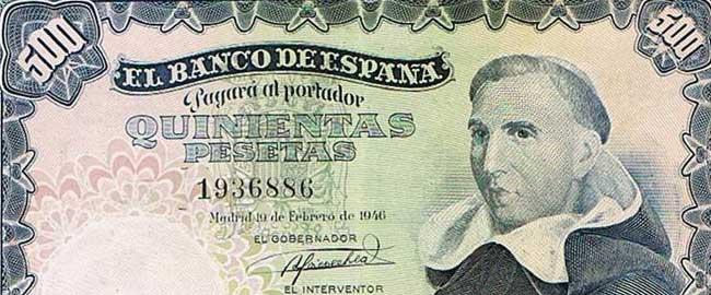 שטר עם דיוקנו של פרנסיסקו דה ויטוריה שהונפק בספרד על ידי משטרו הפשיסטי של פרנקו, 1946 (מקור) כסף כלכלה קפיטליזם פשיזם espana