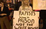 """""""מקומם של אנסים בבית הכלא, לא בבית הלבן"""" (מקור) אמריקה ארהב דונלד טראמפ נשיא אונס נשים זכויות rapists"""